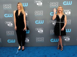 Laura Dern and Reese Witherspoon pose together as they arrive at Critics choice red carpet.