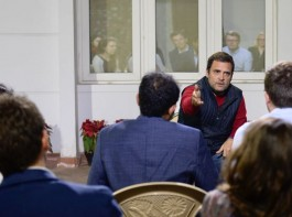 Congress President Rahul Gandhi on Friday interacted with a delegation of Harvard University students who came to his residence.