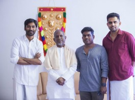 Dhanush on Tuesday night shared a string of photographs of himself along with maestro from the music studio: