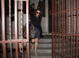 Actress Preity Zinta snapped with her baby bump.