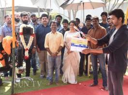 Actor Vijay, Keerthy Suresh and AR Murugadoss at Thalapathy 62 movie launch
