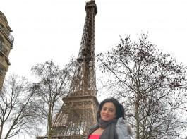 South Indian actress Harshika Poonacha enjoys Paris vacation.