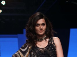 Taapsee Pannu walks the ramp during a fashion show at the Lakmé Fashion Week Summer Resort 2018 in Mumbai.