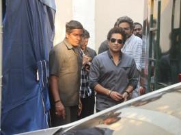 Cricket legend Sachin Tendulkar recently snapped at Mehboob studio in Bandra.