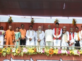 Narendra Modi attends the oath taking ceremony of the Council of Ministers of the Tripura Government in Agartala.