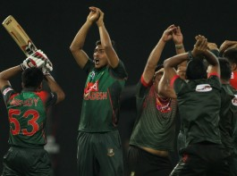 Riding on some brilliant batting from middle-order batsman Mahmudullah (43 not out), Bangladesh edged past Sri Lanka by two wickets to enter the final of the Nidahas Trophy T20 tri-series here on Friday.