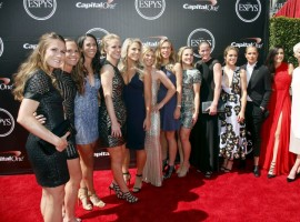 U.S. Women's National Team soccer players arrive for the 2015 ESPY Awards in Los Angeles