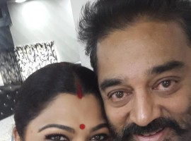 Actress Kushboo selfie with Ulaga Nayagan Kamal Hassan.