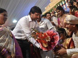 Photos of Sudeep, Upendra, Ganesh, Ravichandran at Shivaraj Kumar daughter Nirupama-Dileep's Wedding.