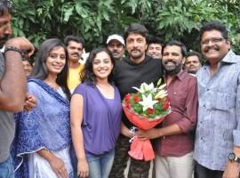 Kannada Actor Kiccha Sudeep Celebrates BirthDay with Nithya Menon and KS Ravikumar.
