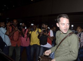 Hollywood actor Elijah Wood reaches Mumbai to perform with his DJ group 'Wooden Wisdom'.