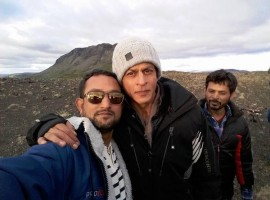 Bollywood superstar Shahrukh Khan and actress Kajol in Iceland for his upcoming film Dilwale.