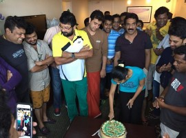 'Badai Bungalow' Fame Arya celebrated her birthday with the crew members of Jayaram show in the US.
