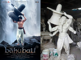 Here are the photos of Ganesh Chaturthi Idols inspired by Prabhas' Baahubali the Beginning. The Vinayaka idols styled after Bahubali have become a biog trend of this Vinayaka Chavithi.