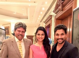 South Indian superstar Allu Arjun and his wife met Cricket legend Kapil Dev.