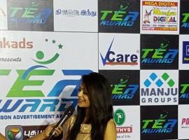 South Indian actor Arya, Nasser, actress Janani Iyer at Tea Awards 2015.