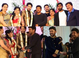 Kannada actor Puneeth Rajkumar, Jayanthi, Sudharani and Others attend Prajwal Devaraj and Ragini Chandran Wedding Reception.