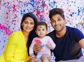 Telugu superstar Allu Arjun is seen with his wife Sneha Reddy and their son Allu Ayaan.