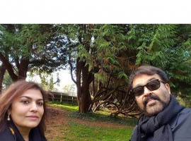Mohanlal, who was last seen in the Malayalam film 'Kanal' is holidaying in London with his wife Suchitra.