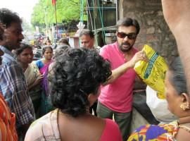 Tamil actor Mohan helped many villagers, who were affected by the flood in Mylapore area in Chennai.