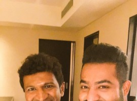 Telugu actor Jr. NT Rama Rao, who occasionally sings in his films, recorded a song on Wednesday for Puneeth Rajkumar-starrer upcoming Kannada film