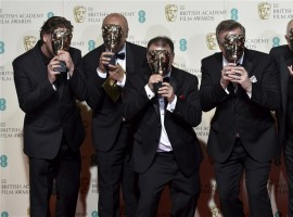 The sound engineers of The Revenant pose after winning their awards for best sound at the British Academy of Film and Television Arts (BAFTA) Awards at the Royal Opera House in London on 14 February 2016.
