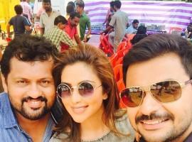 Amala Paul celebrated Vishu at the shooting location of her upcoming Malayalam movie 'Shajahanum Pareekuttiyum?.'