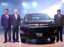 Leading automobile manufacturer Toyota Kirloskar Motor on Friday launched its multi-purpose vehicle Innova Crysta in nine Indian cities simultaneously.