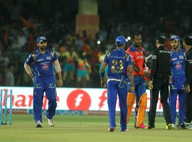 Leading from the front, skipper Suresh Raina (58) smashed a much need half-century to guide Gujarat Lions to a six wicket victory over Mumbai Indians in an Indian Premier League (IPL) match on Saturday. After win, Gujarat climb to top of points table with 18 points from 14 games and qualify for play-offs. Batting first, riding on Nitish Rana's 36-ball 70 Mumbai posted 172/8 in 20 overs.