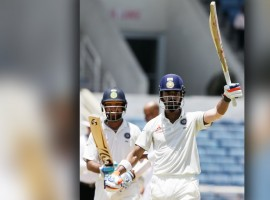 India scored 358 at the loss of five wickets and gained a lead of 162 runs at the end of Day 2 of the second Test against West Indies at Sabina Park here on Sunday. Ajinkya Rahane (42) and Wriddhiman Saha (17) were at the crease.