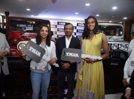 PV Sindhu was felicitated with a silver coloured Thar for winning a silver medal while a red coloured Thar was given to Sakshi Malik for winning a bronze medal.