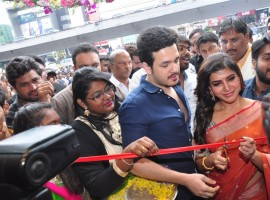 Telugu Actor Akhil Akkineni and Actress Samantha Ruth Prabhu launches South India Shopping Mall at Somajiguda in Hyderabad.
