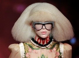A model presents a creation at the Gucci fashion show during Milan Fashion Week Spring/Summer 2017 in Milan, Italy.