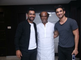 MS Dhoni and Sushant Singh Rajput meet Superstar Rajinikanth.