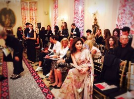 Singer Kanika Kapoor was spotted sitting in the front row of ace fashion designer Roberto Cavallis show at the ongoing Milan Fashion Week.