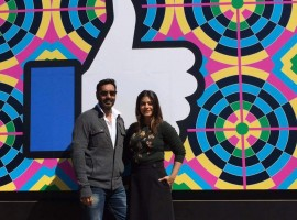 Popular Bollywood couple Ajay Devgn and Kajol visited the Facebook campus here. Kajol has also joined the social networking site. Ajay and Kajol, who have been married for 17 years, paid a visit to the Facebook office on Friday. Excited about her first post, she said in a video: