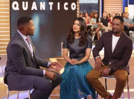 Bollywood actress Priyanka Chopra, Blair Underwood, Michael Strahan on the sets of Good Morning America.
