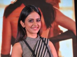 South Indian actress Rakul Preet Singh at Abhinetri audio launch.
