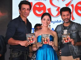 Telugu movie Abhinetri audio launched last night in Hyderabad. Celebs like Prabhu Deva, Sonu Sood, Tamannaah Bhatia, Rakul Preet Singh and others graced the event.