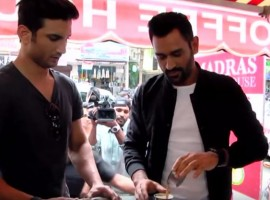 India's limited overs skipper Mahendra Singh Dhoni and Sushant Singh Rajput enjoy filter coffee on the streets of Chennai.