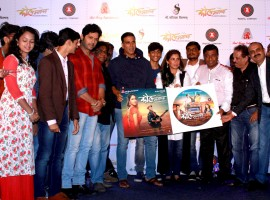 Bollywood actor Akshay Kumar and Dimple Kapadia with star cast during the music launch of Marathi film Kaul Manacha.