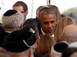 U.S. President Barack Obama is seen upon his arrival to attend the funeral of former Israeli President Shimon Peres at Mount Herzl cemetery in Jerusalem September 30, 2016.
