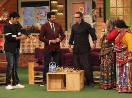 Anil Kapoor with Harshvardhan Kapoor, Saiyami Kher and Om Praksh Mehra promote Mirzya at Kapil Sharma's show.