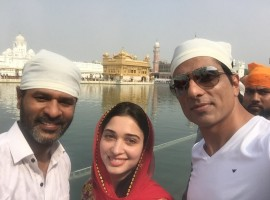 Actor Prabhu Deva, Sonu Sood, Tamannaah Bhatia visit Golden temple for the success of their upcoming movie Tutak Tutak Tutiya.