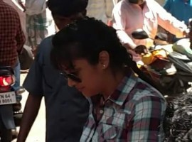 Photos of South Indian Actress Jyothika at director Bramma Movie Shooting Spot.