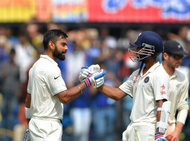 India continued their domination over New Zealand as brilliant batting from skipper Virat Kohli and his deputy Ajinkya Rahane helped the hosts to a mammoth 557/5 on the second day of the third and final Test match at the Holkar Cricket Stadium here on Sunday.