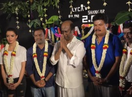Photos of Rajinikanth, Amy Jackson, Director Shankar celebrate Ayudha Pooja on 2.0 set.
