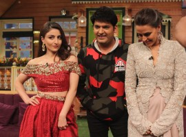Photos of Soha Ali Khan and Neha Dhupia on the set of Kapil Sharma Show.