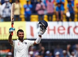 Cheteshwar Pujara smashed an unbeataen century as India declared their second innings at 216/3 to set New Zealand a target of 475 runs on the fourth day of the third Test against New Zealand at the Holkar Cricket Stadium here on Tuesday.