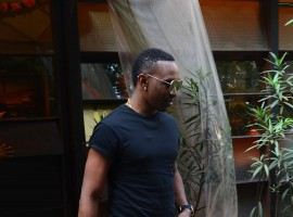 Veteran West Indies all-rounder Dwayne Bravo and Drishyam actress Shriya Saran spotted outside a suburb eatery in Andheri, Mumbai.